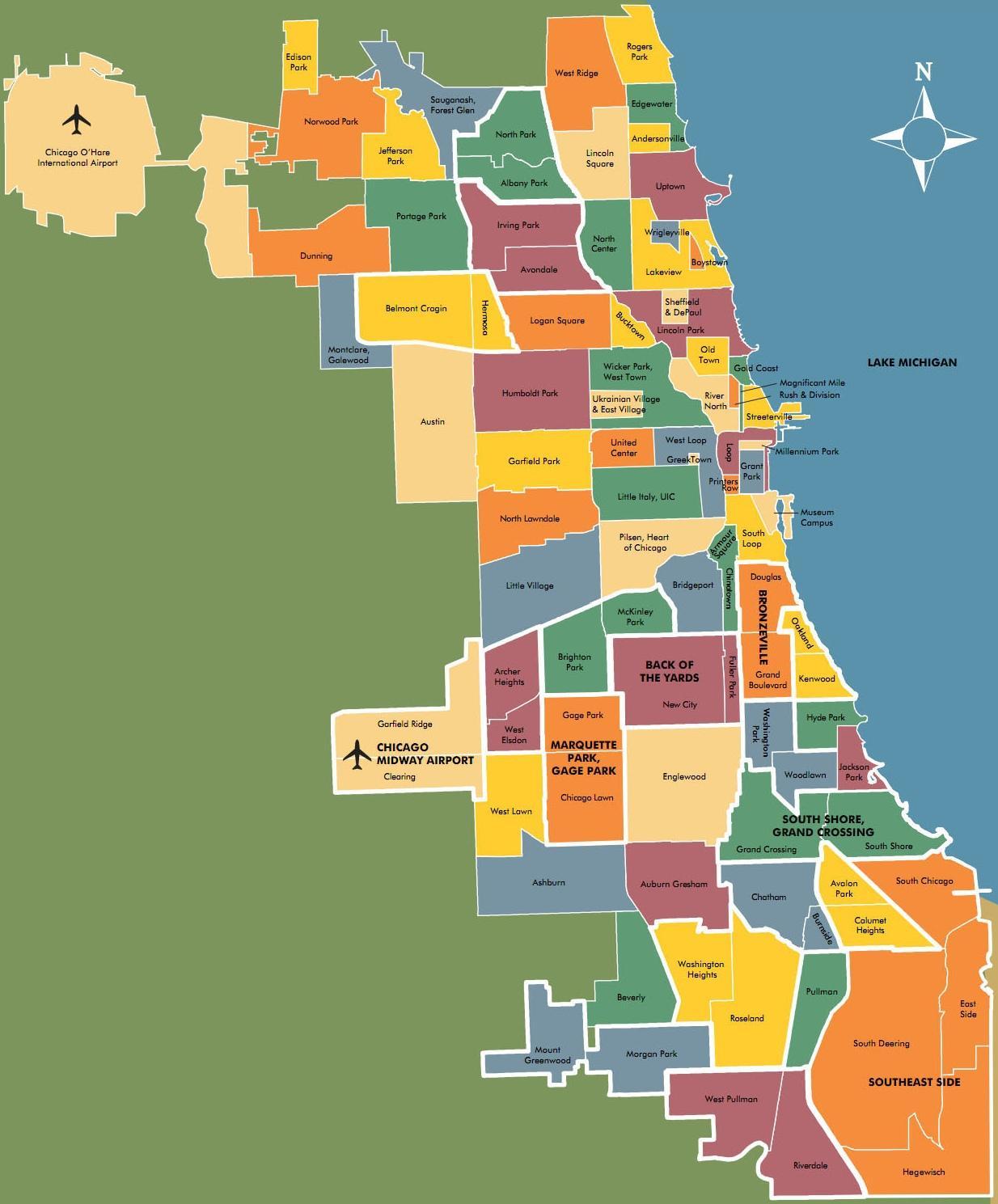 Chicago neighborhood map - Map of neighborhoods in Chicago ...