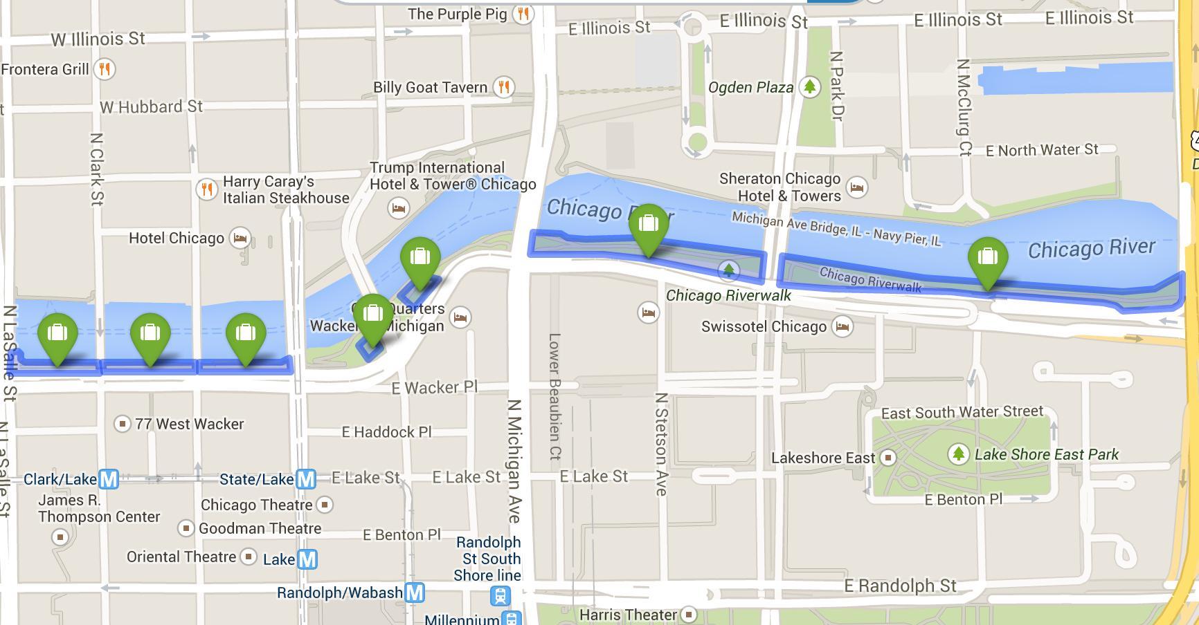 Chicago riverwalk Landkarte - Karte von riverwalk, Chicago ... on