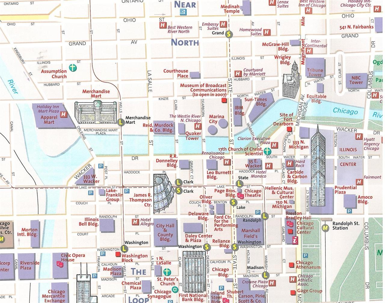 Chicago-tourist map - Touristische Landkarte von Chicago (Vereinigte on