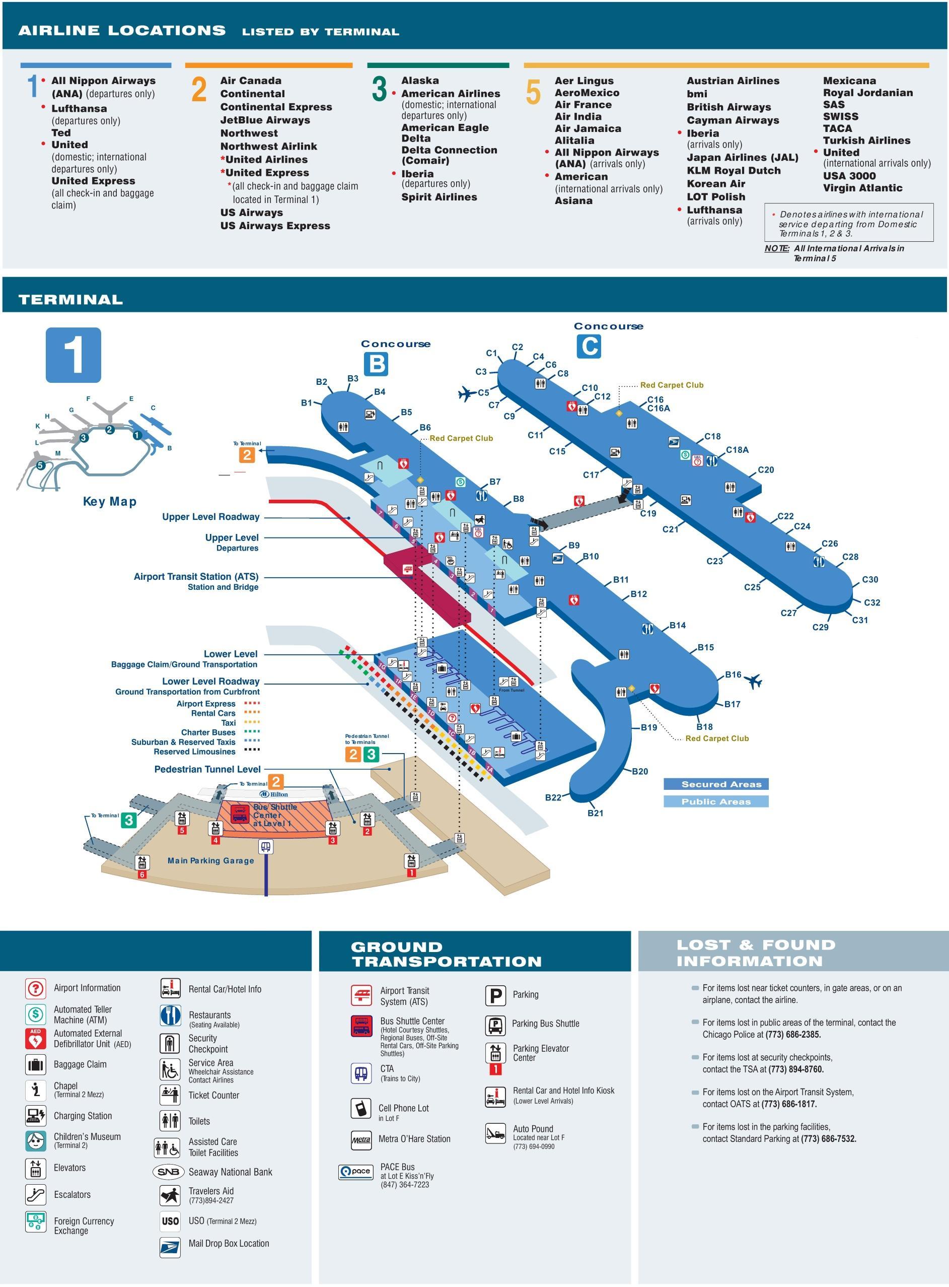 Ord terminal 1 Karte - Karte von ord terminal 1 map Chicago ...