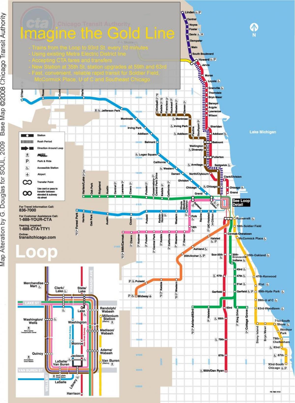 Blue line cta map - Chicago train map blue line (Vereinigte Staaten ...