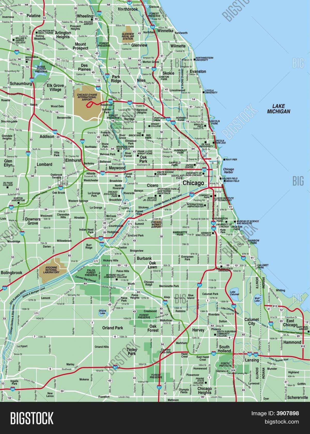 Chicago-Karte - Map-Chicago (Vereinigte Staaten von Amerika)