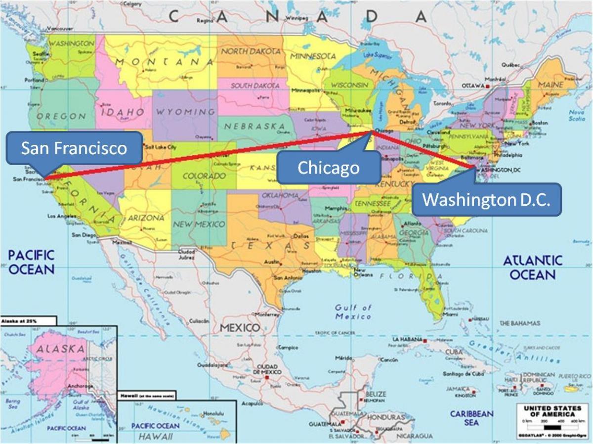 Chicago auf der Karte von usa - Chicago auf der Karte der USA ...