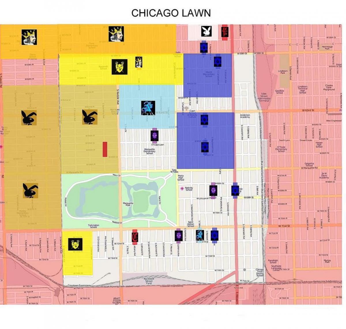 Chicago Bande anzeigen - Gang-map Chicago (Vereinigte Staaten von ...