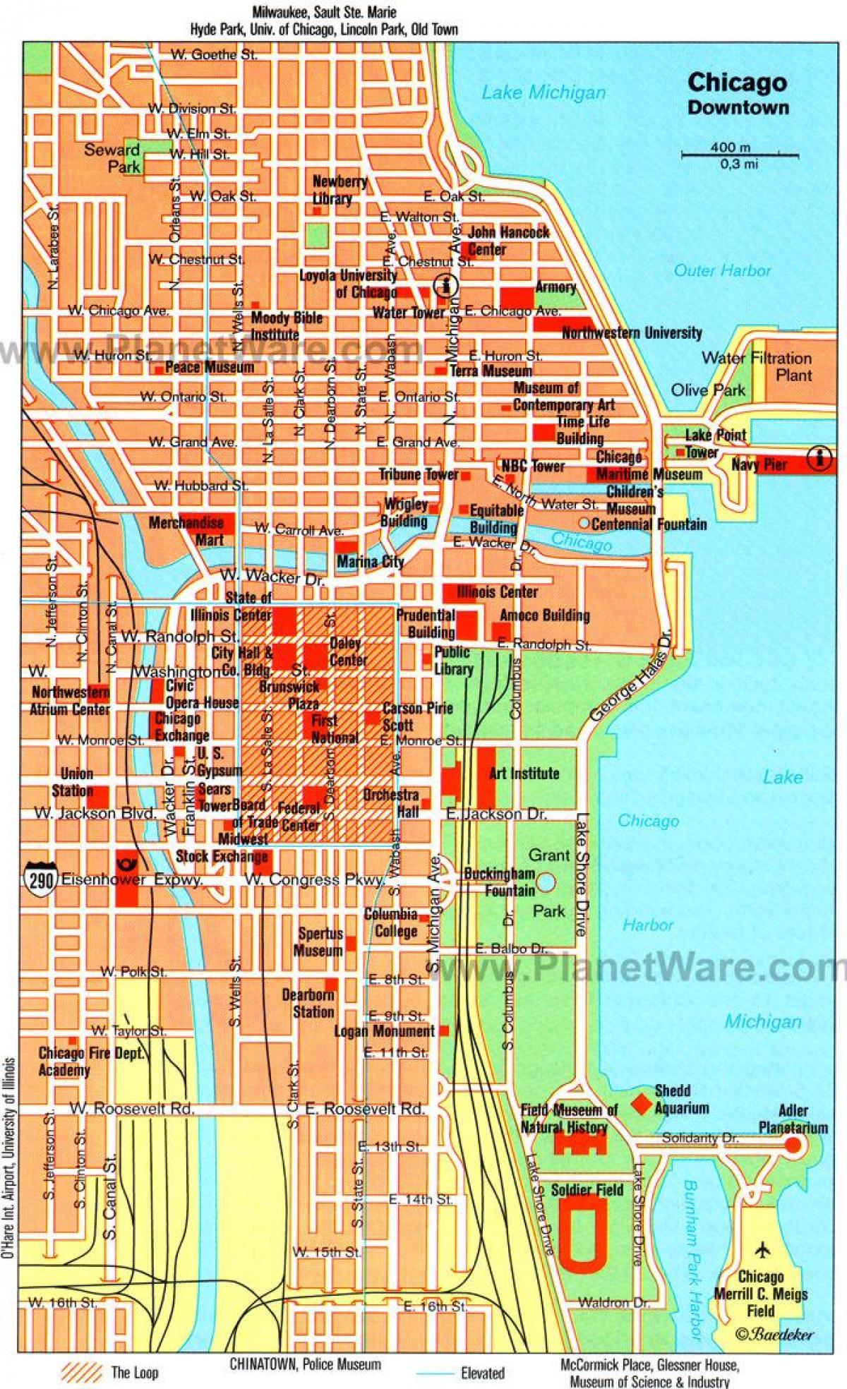 Chicago Museen-map - Karte von Museen in Chicago ...