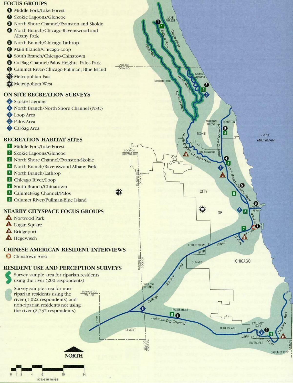 Chicago river Karte - Karte von Chicago-river (Vereinigte Staaten ...