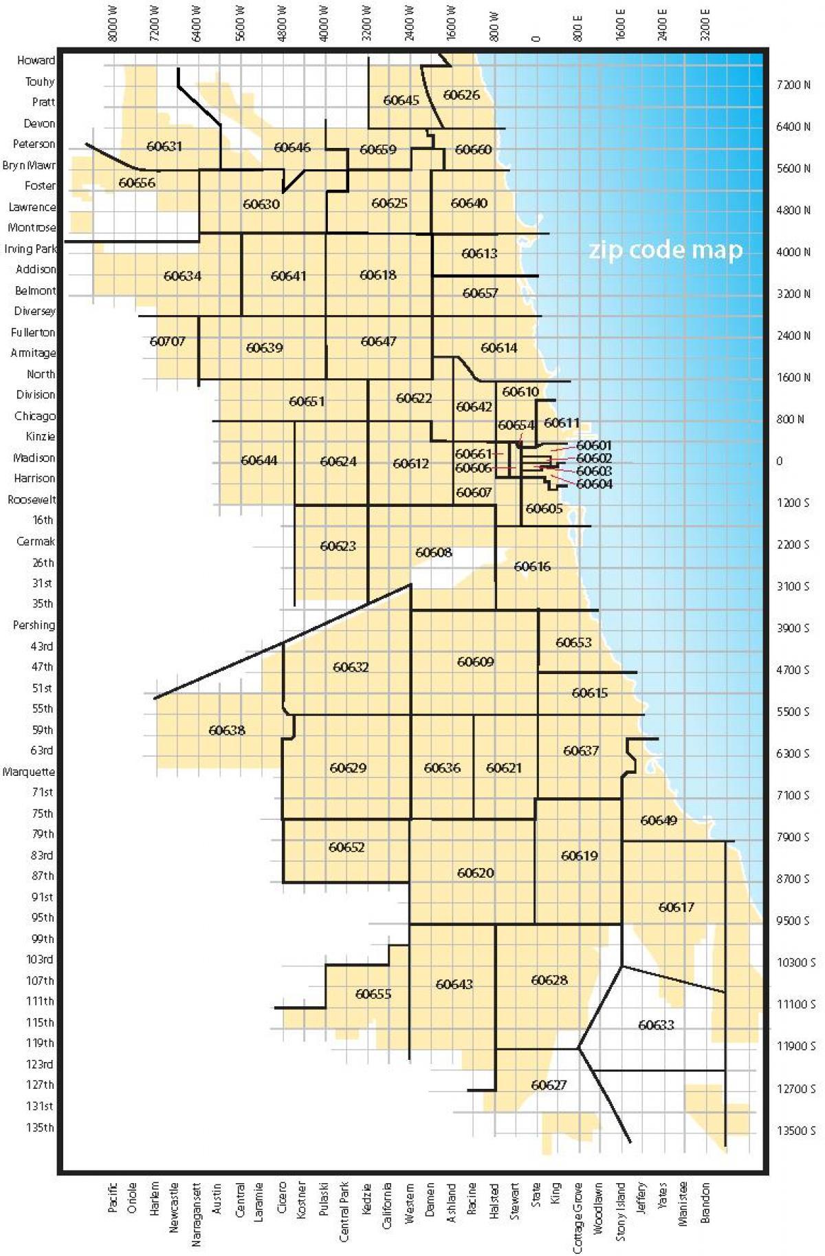 Chicago Zip Code Map Karte Von Chicago Postleitzahlen