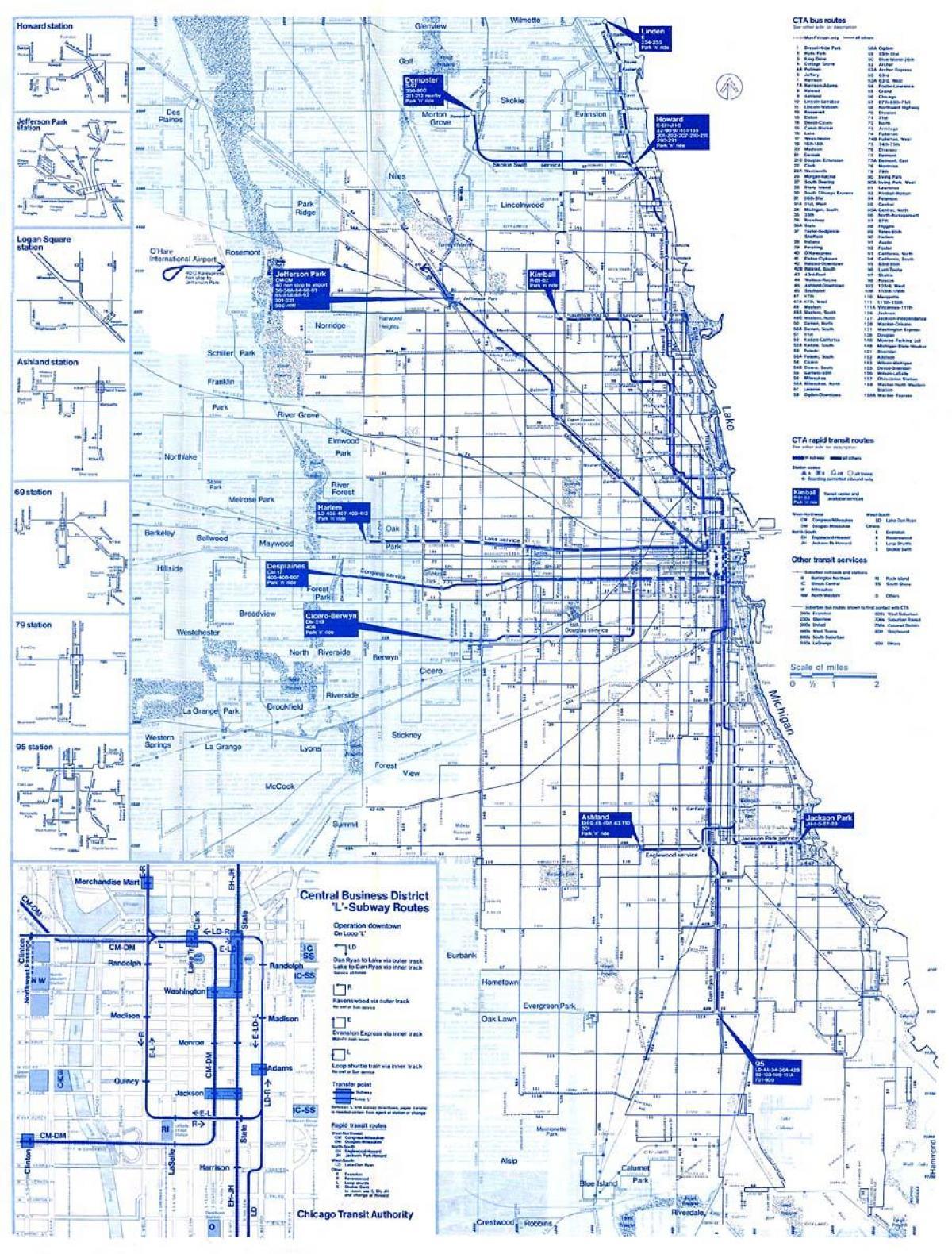 Cta-bus Karte - Cta bus route map (Vereinigte Staaten von Amerika) on